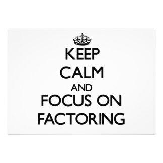 Guarde la calma y el foco en descomponer en factor comunicados personales