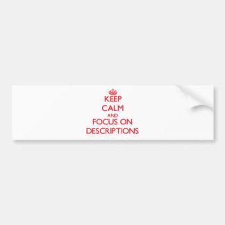 Guarde la calma y el foco en descripciones etiqueta de parachoque