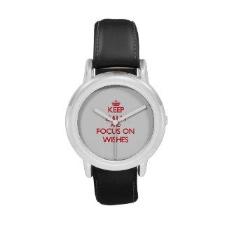 Guarde la calma y el foco en deseos relojes de pulsera