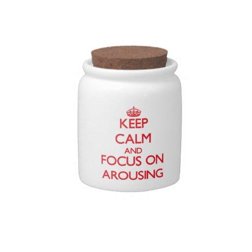 Guarde la calma y el foco en DESPERTAR Jarras Para Caramelos