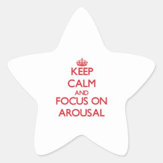 Guarde la calma y el foco en DESPERTAR Pegatina Forma De Estrella Personalizada