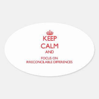 Guarde la calma y el foco en diferencias colcomanias oval