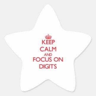 Guarde la calma y el foco en dígitos pegatinas forma de estrella personalizadas