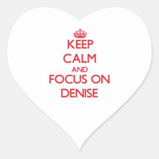 Guarde la calma y el foco en Dionisia Pegatina En Forma De Corazón