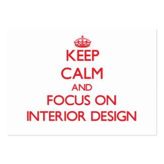 Guarde la calma y el foco en diseño interior plantillas de tarjetas personales