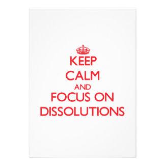 Guarde la calma y el foco en disoluciones invitaciones personales