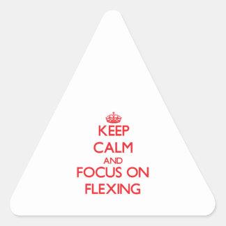 Guarde la calma y el foco en doblar pegatina triangular