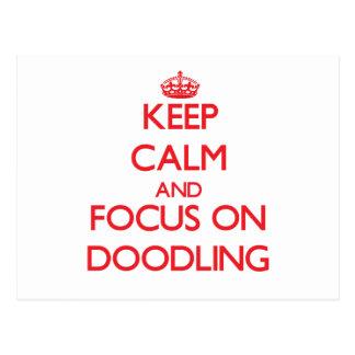 Guarde la calma y el foco en Doodling Tarjeta Postal