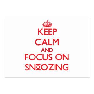 Guarde la calma y el foco en dormitar tarjetas de visita grandes