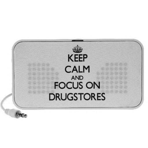 Guarde la calma y el foco en droguerías altavoces de viaje