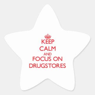 Guarde la calma y el foco en droguerías pegatina en forma de estrella