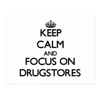 Guarde la calma y el foco en droguerías postales