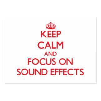 Guarde la calma y el foco en efectos sonoros tarjetas de visita grandes