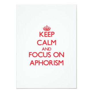 Guarde la calma y el foco en el AFORISMO Comunicado Personal
