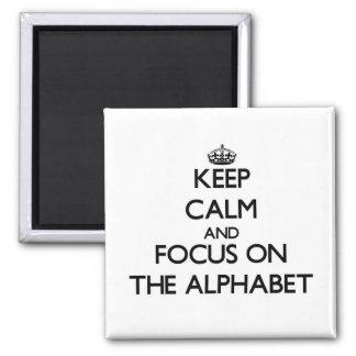 Guarde la calma y el foco en el alfabeto imanes para frigoríficos
