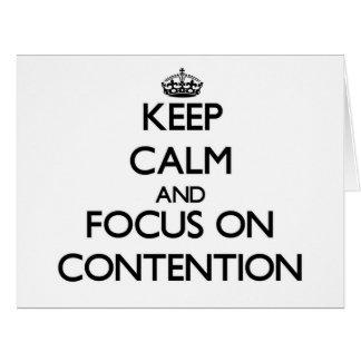 Guarde la calma y el foco en el argumento tarjeta de felicitación grande
