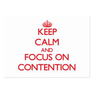 Guarde la calma y el foco en el argumento plantilla de tarjeta de negocio