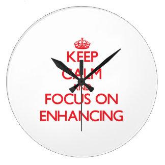 Guarde la calma y el foco en el AUMENTO Relojes De Pared