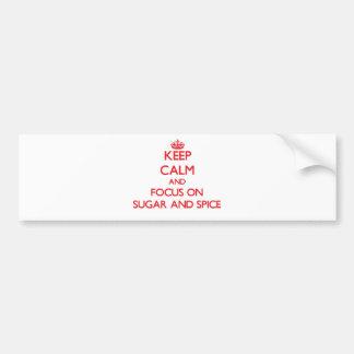 Guarde la calma y el foco en el azúcar y la etiqueta de parachoque