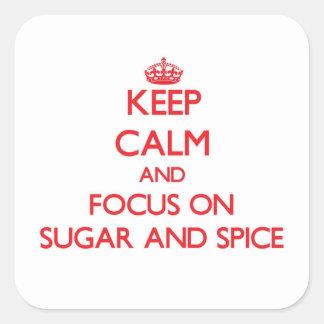 Guarde la calma y el foco en el azúcar y la pegatina cuadrada