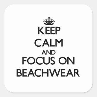 Guarde la calma y el foco en el Beachwear Pegatinas Cuadradases Personalizadas