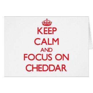 Guarde la calma y el foco en el Cheddar Tarjeta De Felicitación