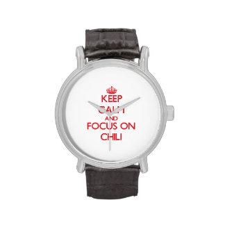 Guarde la calma y el foco en el chile reloj de mano