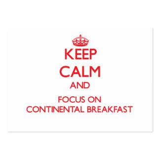 Guarde la calma y el foco en el desayuno tarjetas de visita grandes
