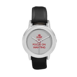 Guarde la calma y el foco en el deseo reloj de mano