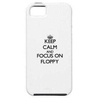 Guarde la calma y el foco en el disco blando iPhone 5 protector