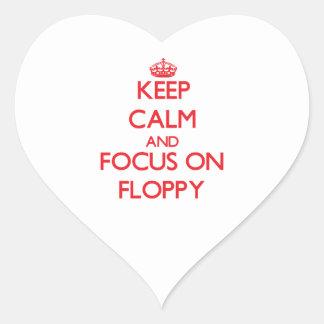 Guarde la calma y el foco en el disco blando pegatinas de corazon personalizadas