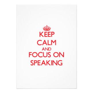 Guarde la calma y el foco en el discurso anuncios