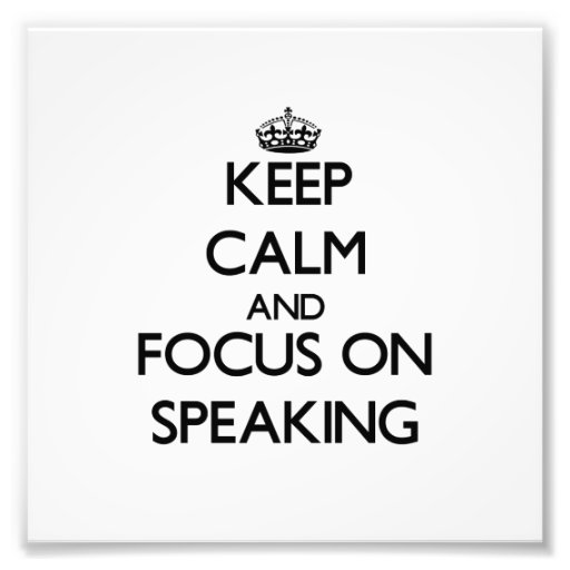 Guarde la calma y el foco en el discurso fotografías