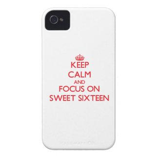Guarde la calma y el foco en el dulce dieciséis iPhone 4 Case-Mate funda