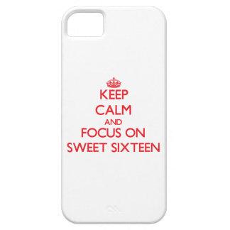 Guarde la calma y el foco en el dulce dieciséis iPhone 5 Case-Mate protectores
