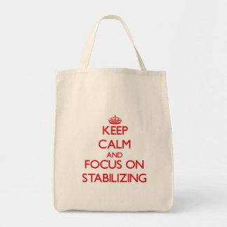 Guarde la calma y el foco en el estabilizador bolsa lienzo