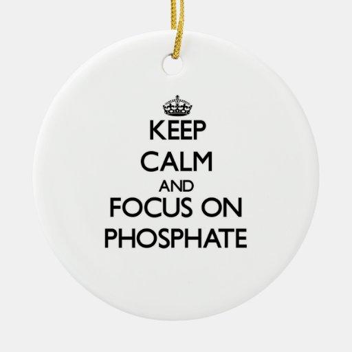 Guarde la calma y el foco en el fosfato adorno redondo de cerámica