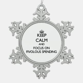 Guarde la calma y el foco en el gasto de Fivolous Adorno De Peltre En Forma De Copo De Nieve