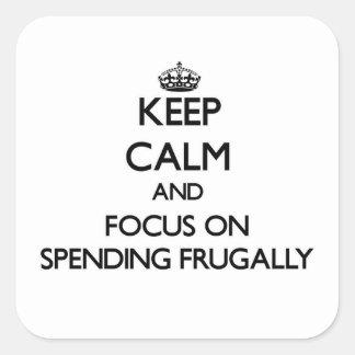 Guarde la calma y el foco en el gasto frugalmente calcomania cuadradas
