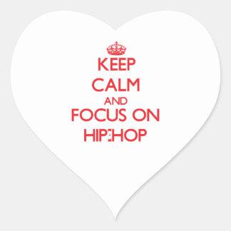 Guarde la calma y el foco en el hip-hop calcomanía de corazón personalizadas