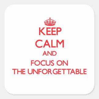 Guarde la calma y el foco en el inolvidable pegatinas