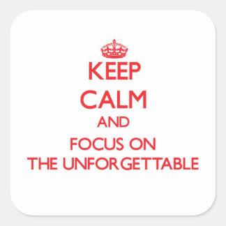 Guarde la calma y el foco en el inolvidable calcomania cuadradas personalizadas