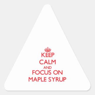 Guarde la calma y el foco en el jarabe de arce calcomanías de triangulos personalizadas