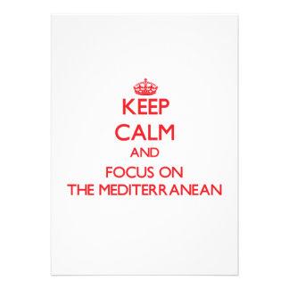 Guarde la calma y el foco en el mediterráneo invitación