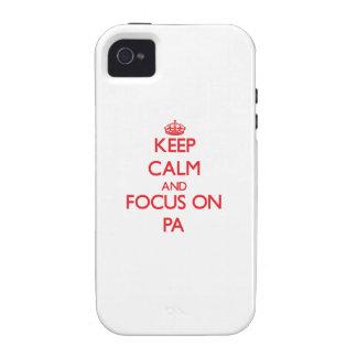 guarde la calma Y EL FOCO EN el PA Case-Mate iPhone 4 Fundas
