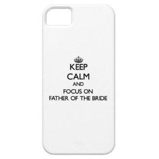 Guarde la calma y el foco en el padre de la novia iPhone 5 protector