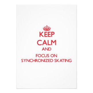 Guarde la calma y el foco en el patinaje sincroniz invitaciones personalizada