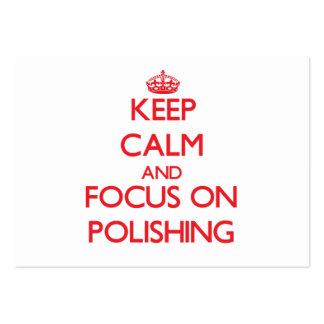 Guarde la calma y el foco en el polaco tarjetas de visita grandes