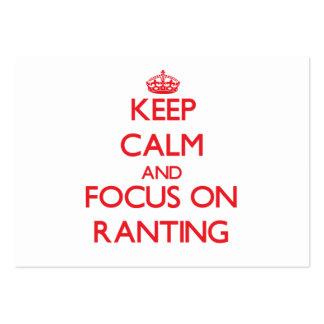 Guarde la calma y el foco en el Ranting Tarjetas De Visita
