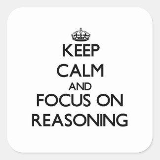 Guarde la calma y el foco en el razonamiento colcomania cuadrada